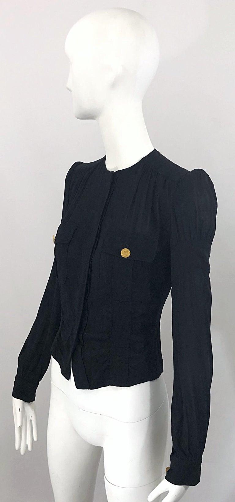 Vintage Donna Karan Collection 1990s Black Size 2 / 4 Puff Sleeve Shirt Jacket For Sale 1