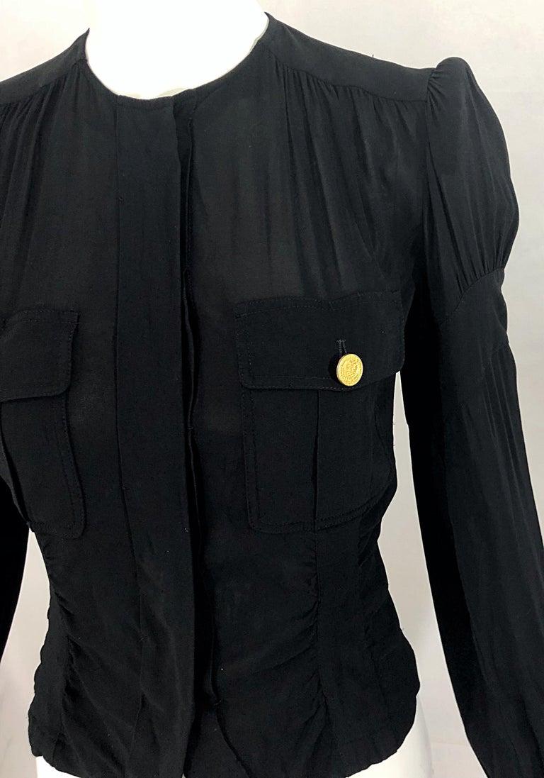 Vintage Donna Karan Collection 1990s Black Size 2 / 4 Puff Sleeve Shirt Jacket For Sale 2