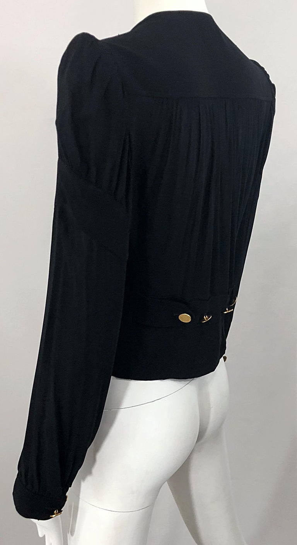 Vintage Donna Karan Collection 1990s Black Size 2 / 4 Puff Sleeve Shirt Jacket For Sale 3