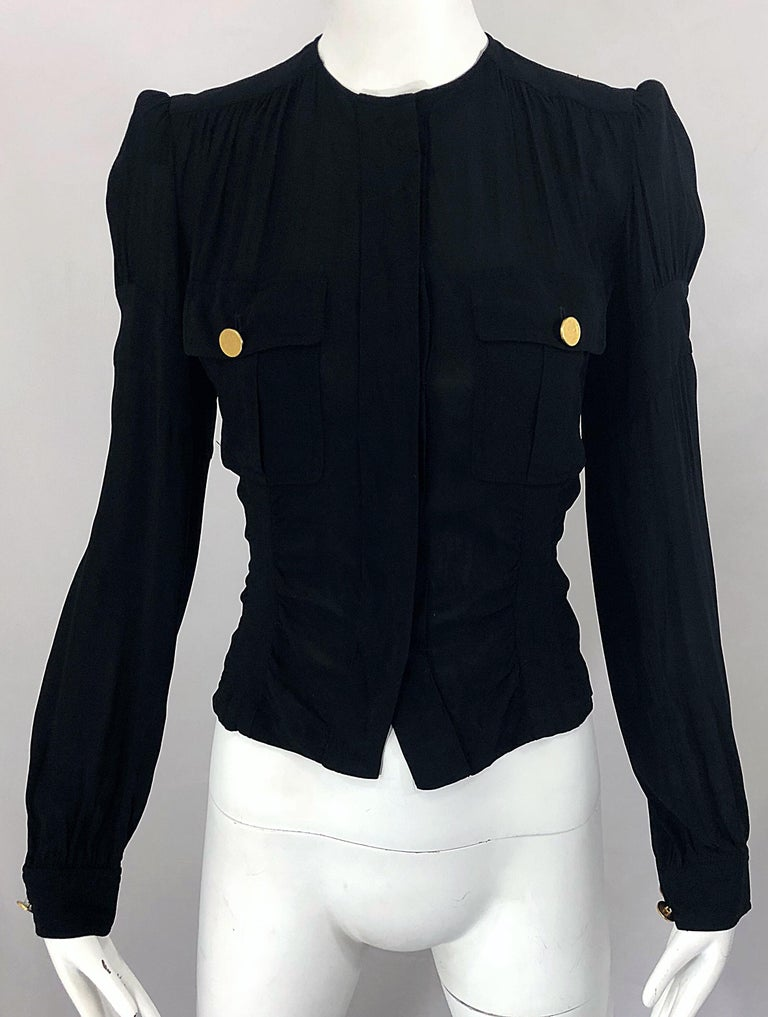 Vintage Donna Karan Collection 1990s Black Size 2 / 4 Puff Sleeve Shirt Jacket For Sale 4
