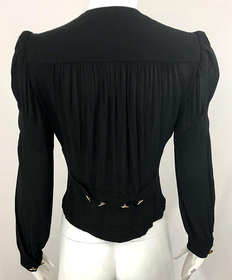 Vintage Donna Karan Collection 1990s Black Size 2 / 4 Puff Sleeve Shirt Jacket For Sale 5