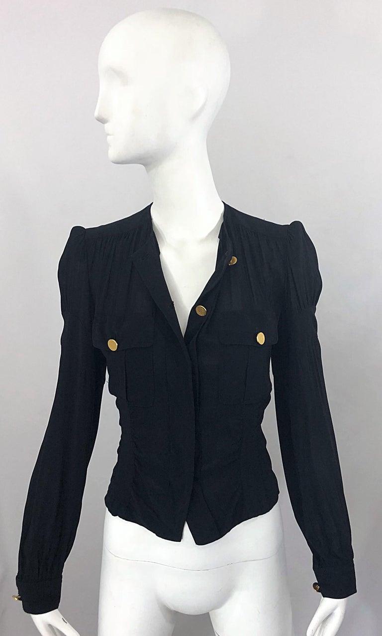 Vintage Donna Karan Collection 1990s Black Size 2 / 4 Puff Sleeve Shirt Jacket For Sale 6