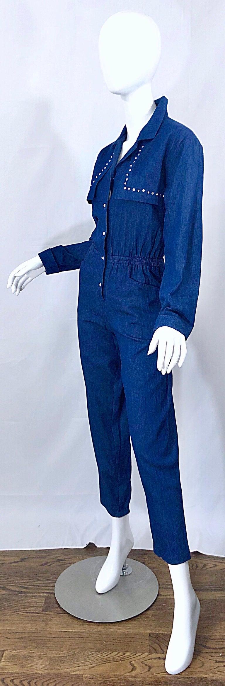 Amazing 1990s French Designer Blue Jean Denim + Rhinestone Pear Vintage Jumpsuit For Sale 1