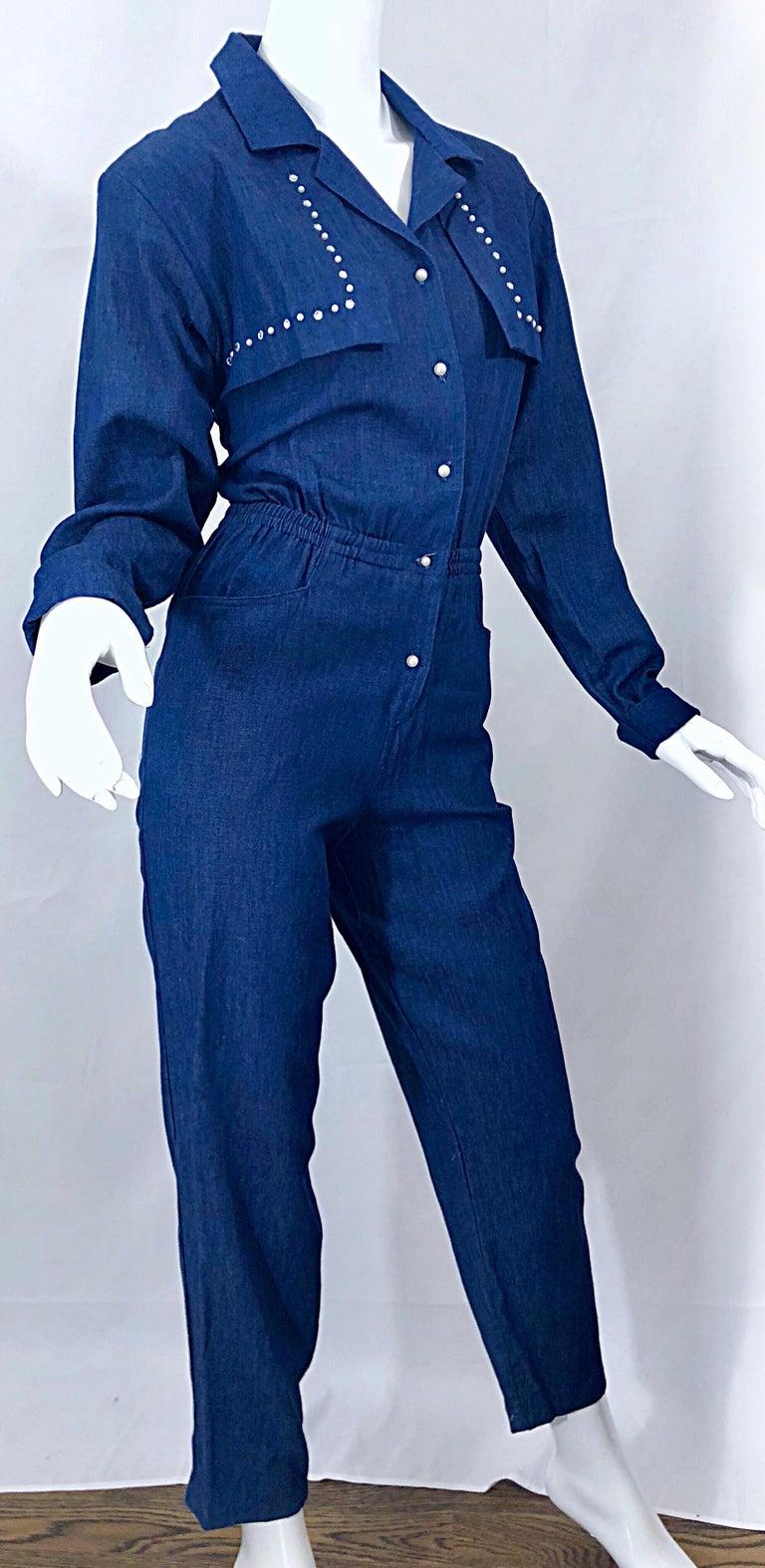 Amazing 1990s French Designer Blue Jean Denim + Rhinestone Pear Vintage Jumpsuit For Sale 2