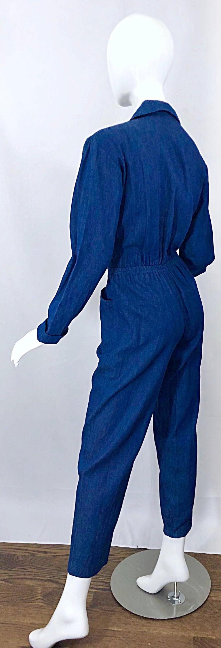 Amazing 1990s French Designer Blue Jean Denim + Rhinestone Pear Vintage Jumpsuit For Sale 3