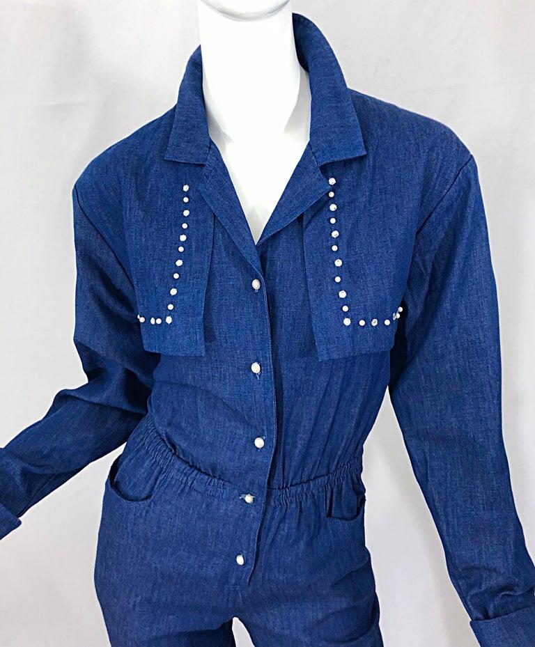 Amazing 1990s French Designer Blue Jean Denim + Rhinestone Pear Vintage Jumpsuit For Sale 4