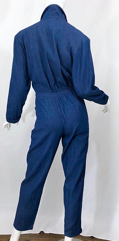 Amazing 1990s French Designer Blue Jean Denim + Rhinestone Pear Vintage Jumpsuit For Sale 6