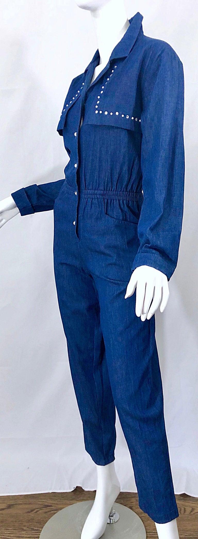 Amazing 1990s French Designer Blue Jean Denim + Rhinestone Pear Vintage Jumpsuit For Sale 7