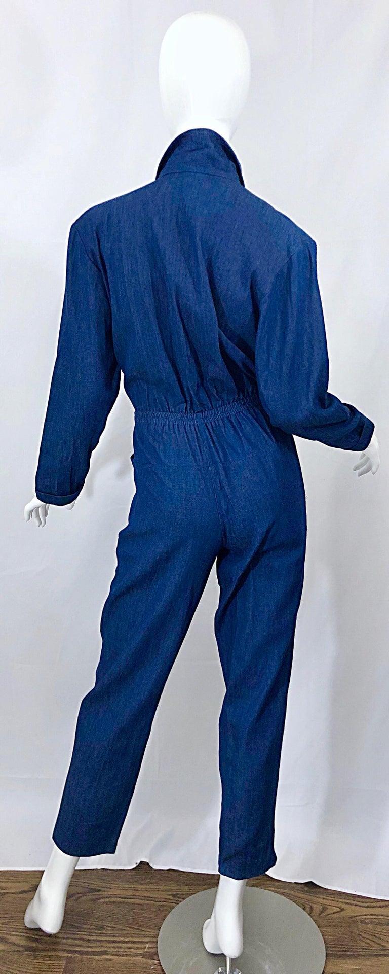 Amazing 1990s French Designer Blue Jean Denim + Rhinestone Pear Vintage Jumpsuit For Sale 8