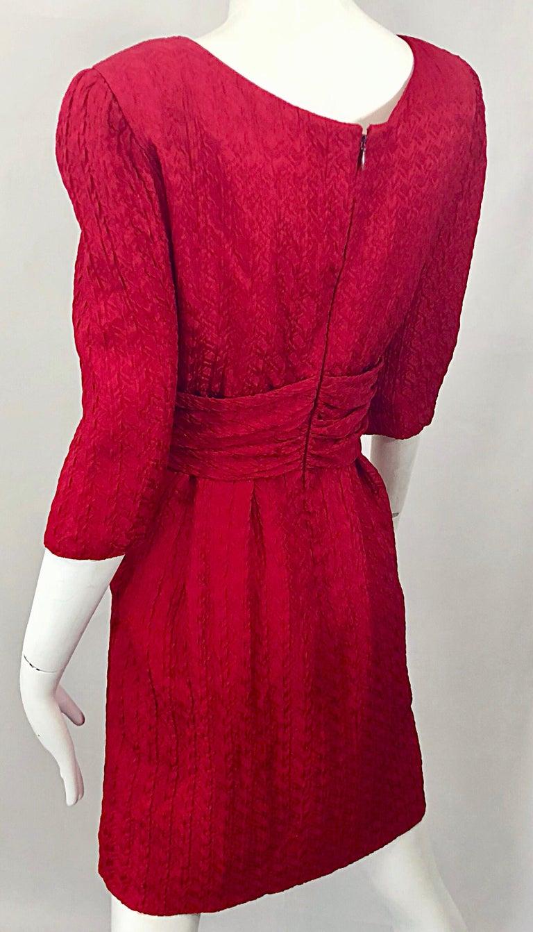26c55e1290 Vintage Oscar de la Renta Size 10 Lipstick Red Avant Garde Silk 3 4 Sleeve
