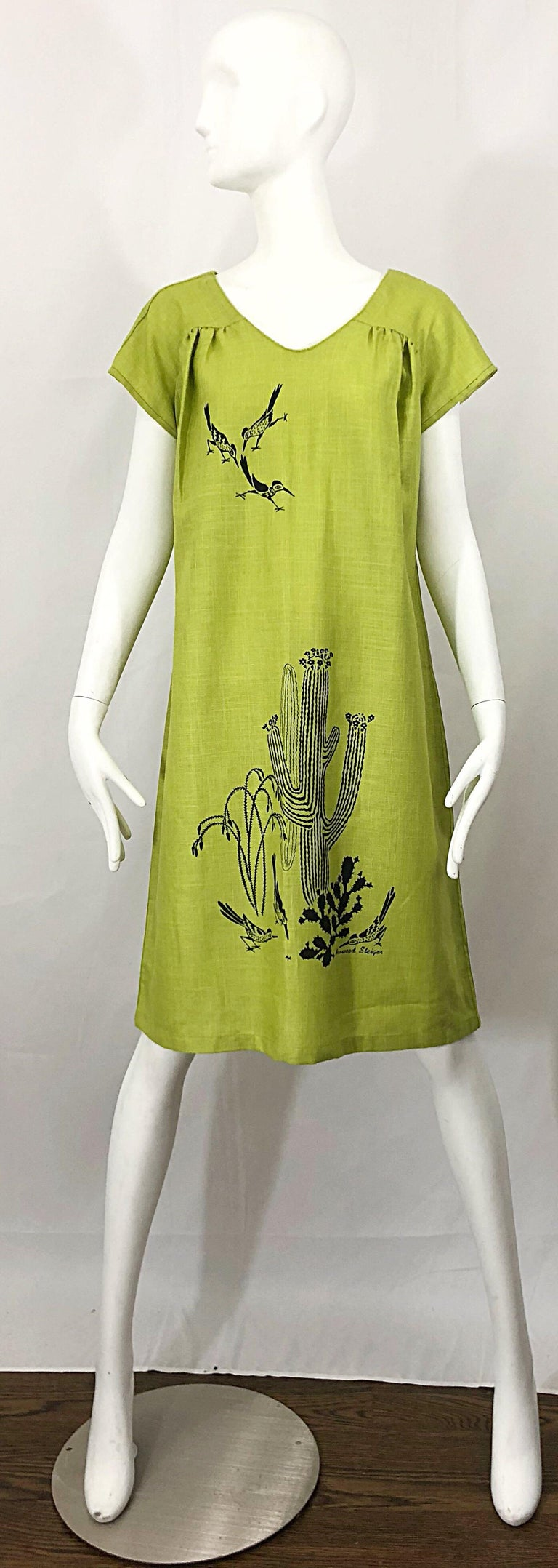 Rare chic vintage early 70s HARWOOD STEIGER artist signed screenprinted avocado green short sleeve linen tunic caftan style empire dress! Soft linen blend fabric is lightweight, and great layered or alone (would also be great over a swimsuit).