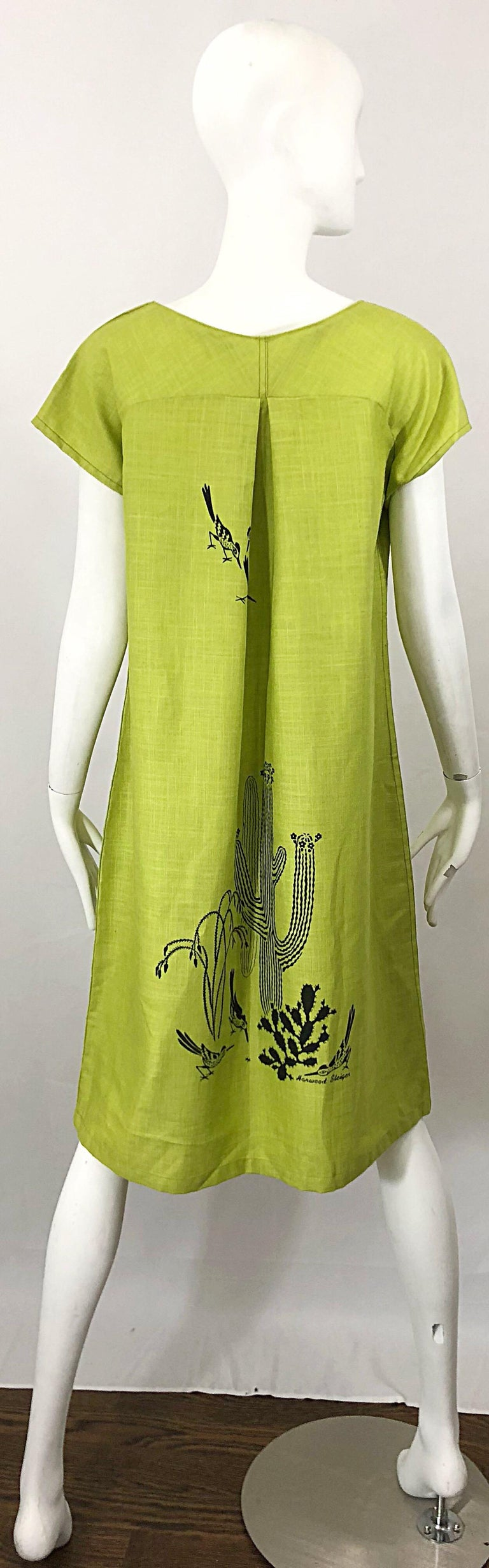 Women's Rare 1970s Harwood Steiger Screen Printed Ant Eater Novelty Linen Tunic Dress For Sale