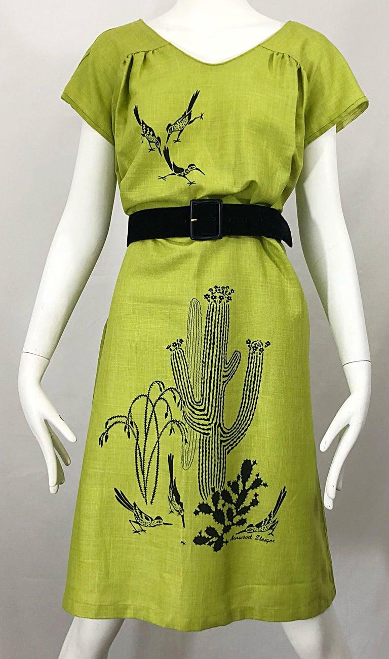 Rare 1970s Harwood Steiger Screen Printed Ant Eater Novelty Linen Tunic Dress For Sale 2