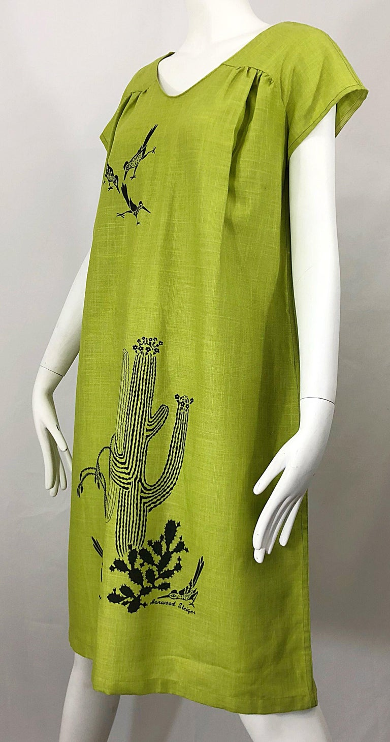 Rare 1970s Harwood Steiger Screen Printed Ant Eater Novelty Linen Tunic Dress For Sale 3