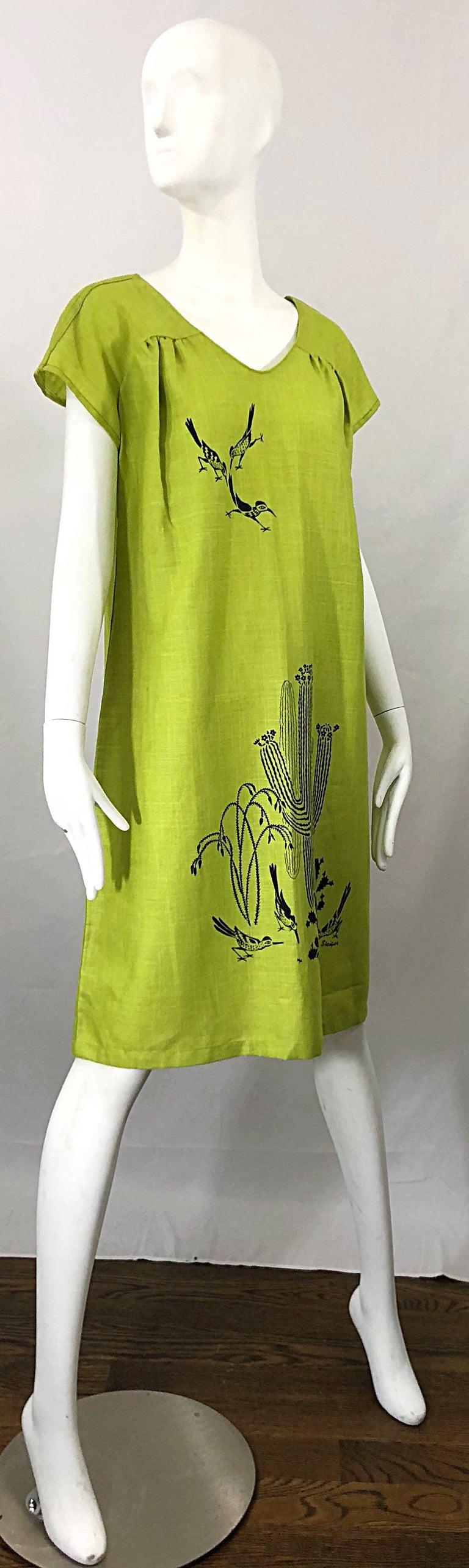 Rare 1970s Harwood Steiger Screen Printed Ant Eater Novelty Linen Tunic Dress For Sale 4