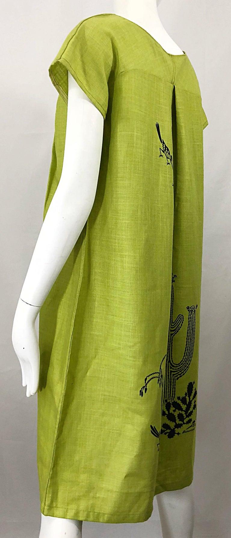 Rare 1970s Harwood Steiger Screen Printed Ant Eater Novelty Linen Tunic Dress For Sale 5
