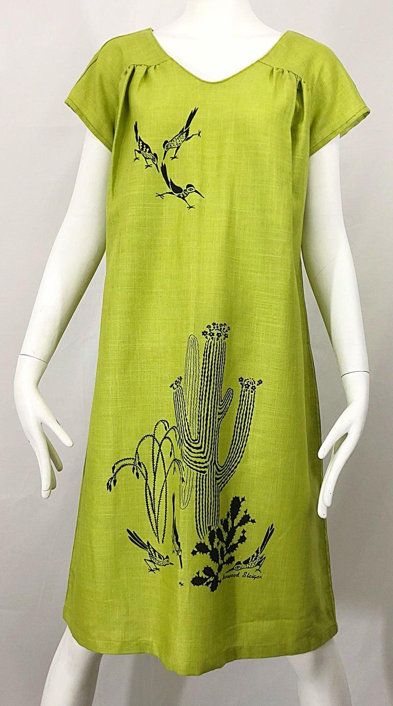 Rare 1970s Harwood Steiger Screen Printed Ant Eater Novelty Linen Tunic Dress For Sale 6