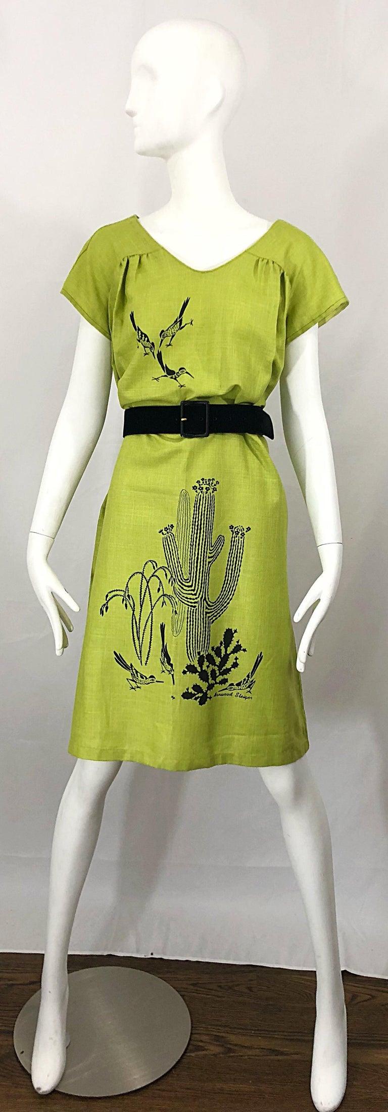Rare 1970s Harwood Steiger Screen Printed Ant Eater Novelty Linen Tunic Dress For Sale 7