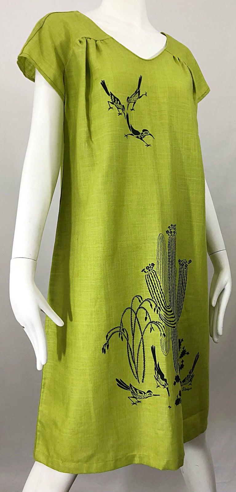 Rare 1970s Harwood Steiger Screen Printed Ant Eater Novelty Linen Tunic Dress For Sale 9