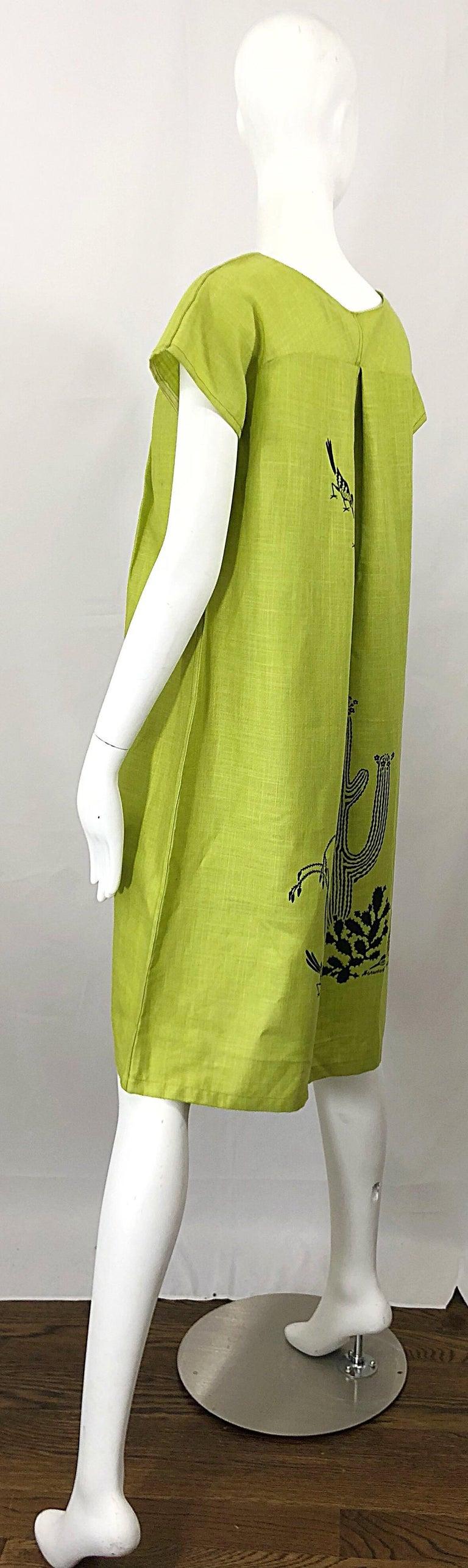 Rare 1970s Harwood Steiger Screen Printed Ant Eater Novelty Linen Tunic Dress For Sale 10