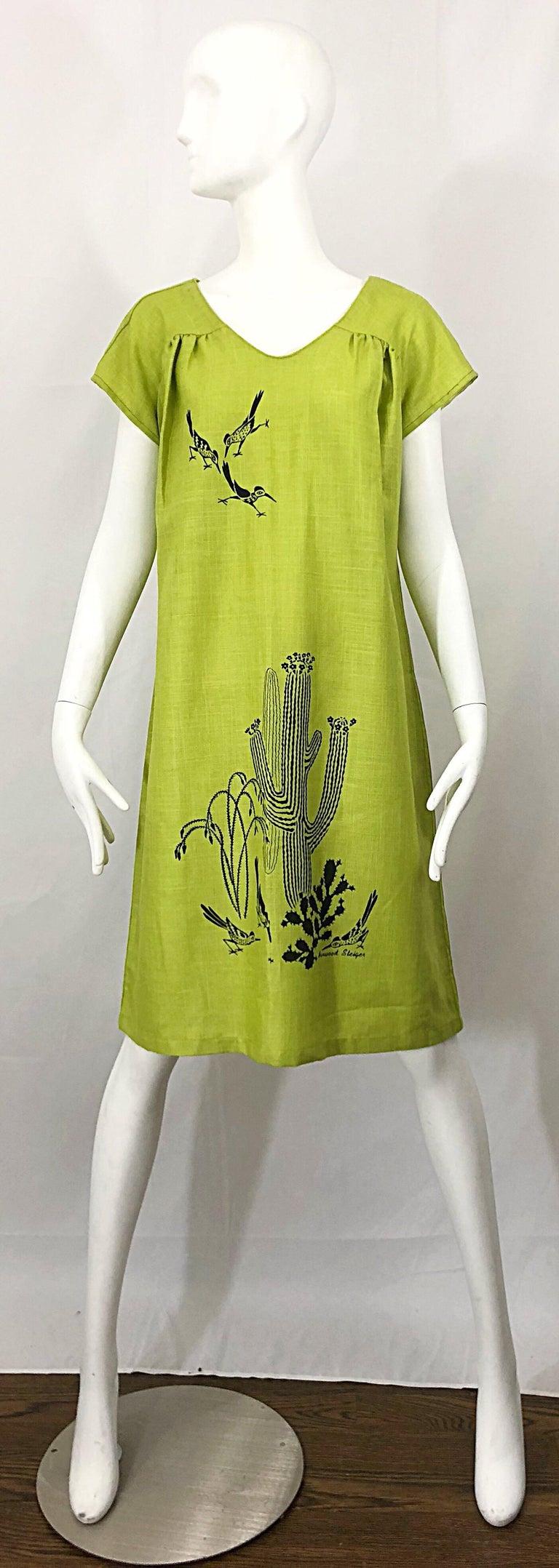 Rare 1970s Harwood Steiger Screen Printed Ant Eater Novelty Linen Tunic Dress For Sale 11