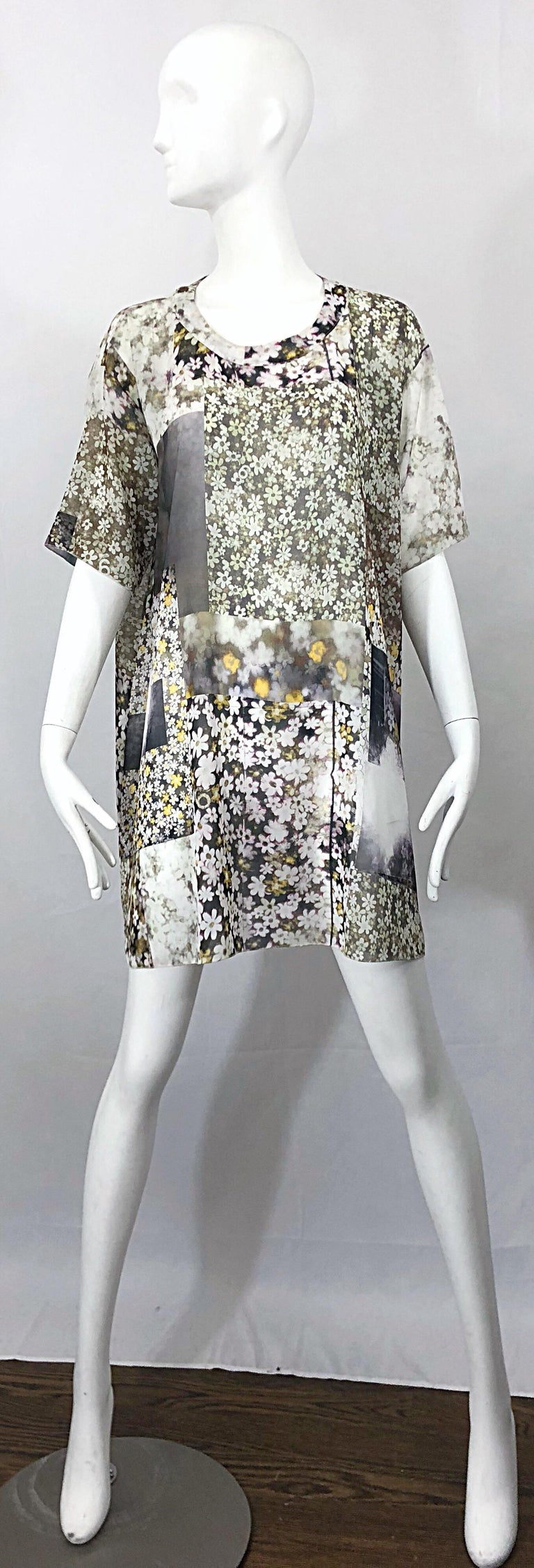 3b97fe681823 Rare MAISON MARGIELA MM6 oversized silky photo print patchwork semi sheer t-shirt  dress tunic