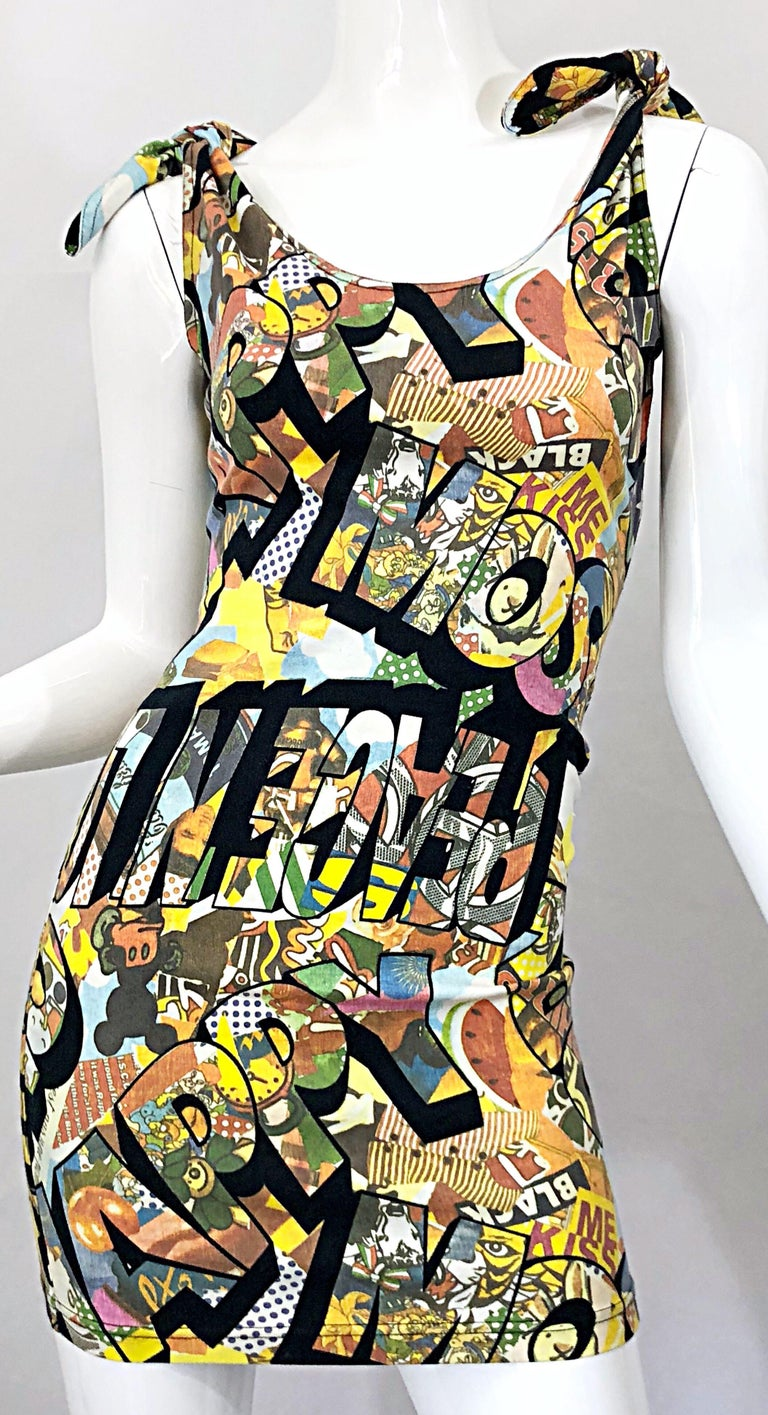 Vintage Moschino 1990s Mickey Mouse Disney Iconic Novelty Print 90s Mini Dress For Sale 7