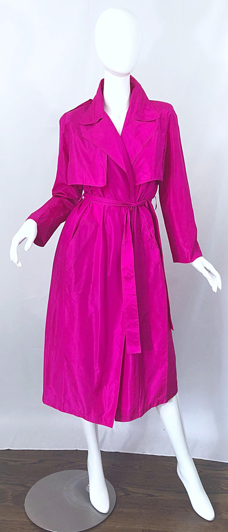 Amazing 1980s VICKY TIEL COUTURE hot pink / fuchsia lightweight silk trench jacket dress! One of the many things that I love about this rare gem is that it can double up as a jacket OR a dress! Exaggerated collar and lapels, with pockets at each