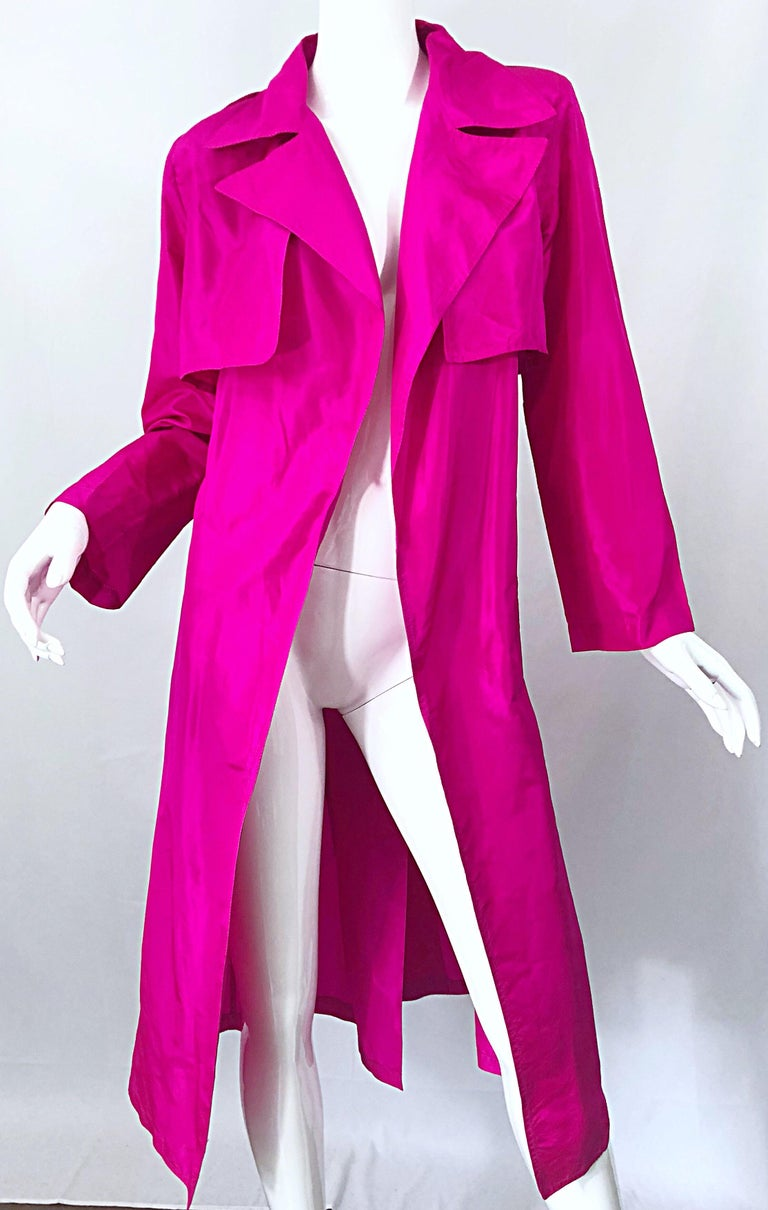 Vintage Vicky Tiel Couture 80s Hot Pink Fuchsia Silk 1980s Trecnch Jacket Dress In Excellent Condition For Sale In Chicago, IL