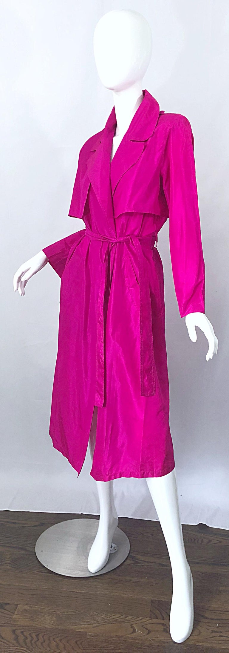 Vintage Vicky Tiel Couture 80s Hot Pink Fuchsia Silk 1980s Trecnch Jacket Dress For Sale 1
