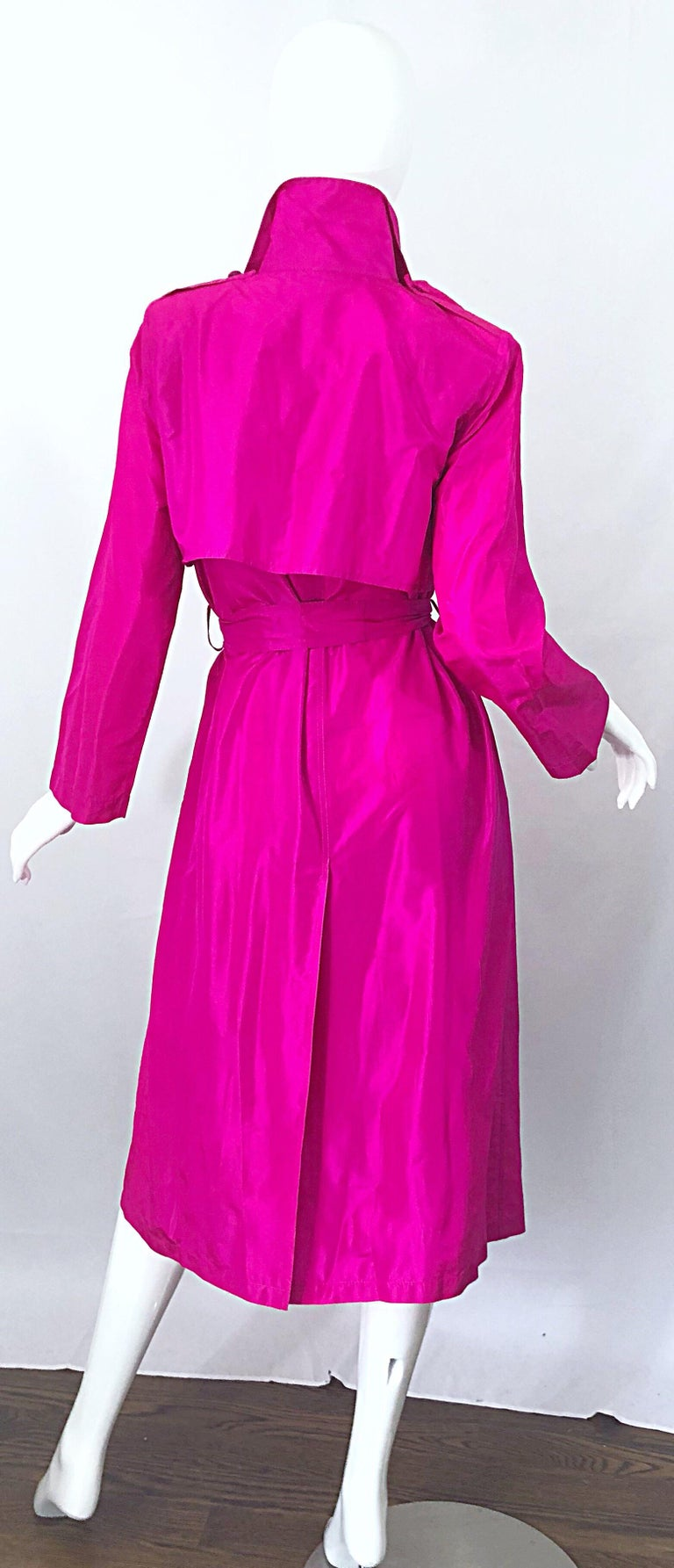 Women's Vintage Vicky Tiel Couture 80s Hot Pink Fuchsia Silk 1980s Trecnch Jacket Dress For Sale