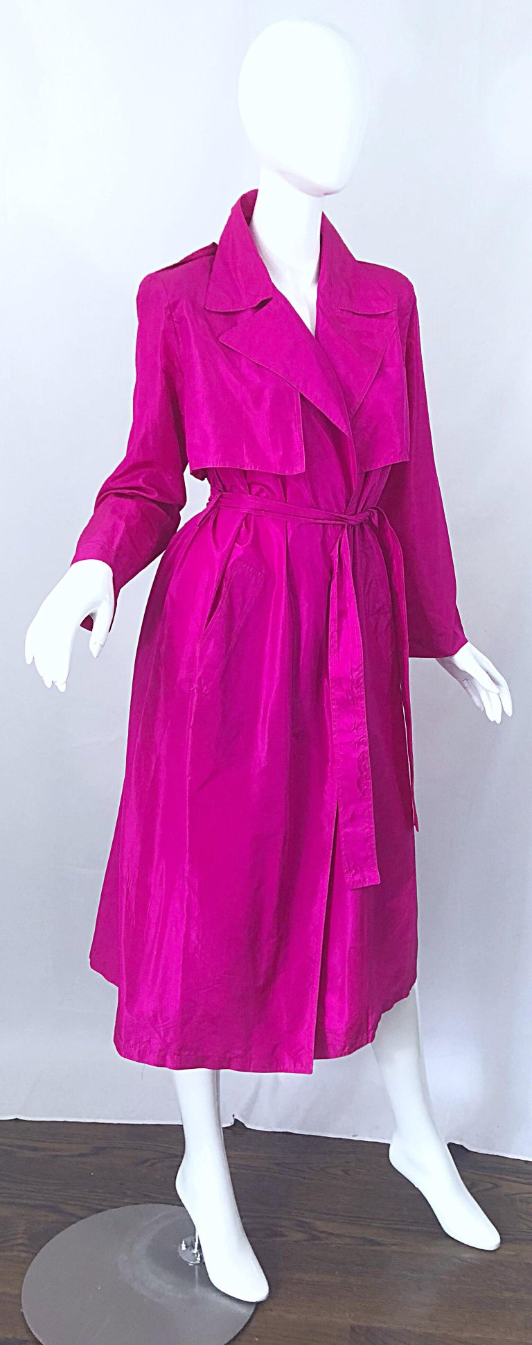 Vintage Vicky Tiel Couture 80s Hot Pink Fuchsia Silk 1980s Trecnch Jacket Dress For Sale 2