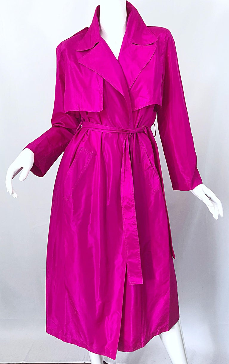 Vintage Vicky Tiel Couture 80s Hot Pink Fuchsia Silk 1980s Trecnch Jacket Dress For Sale 3