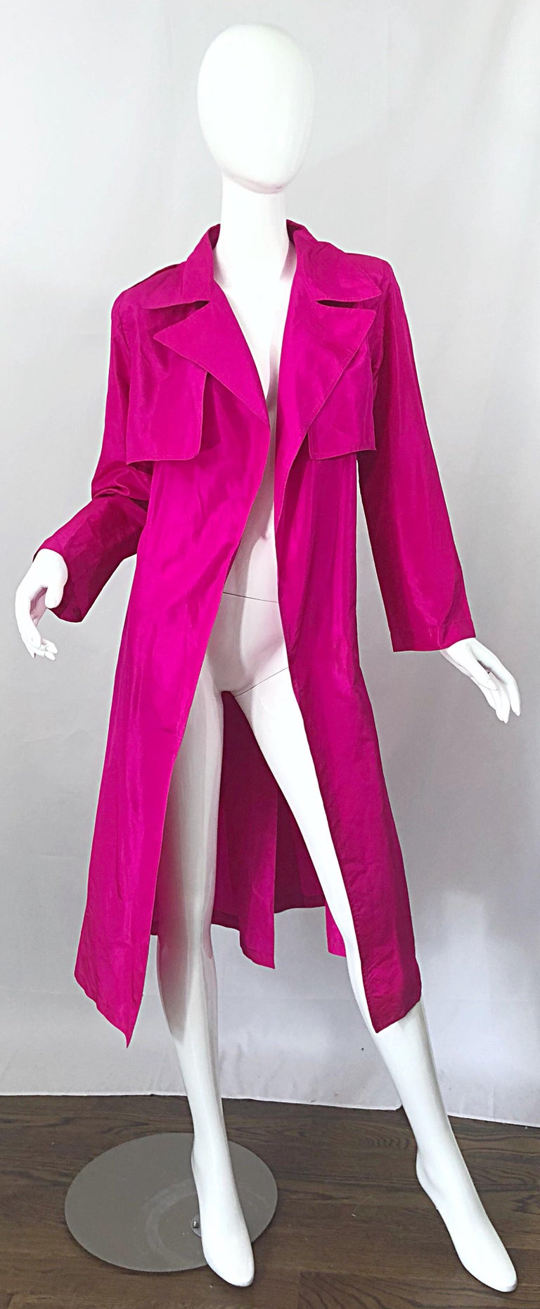 Vintage Vicky Tiel Couture 80s Hot Pink Fuchsia Silk 1980s Trecnch Jacket Dress For Sale 4