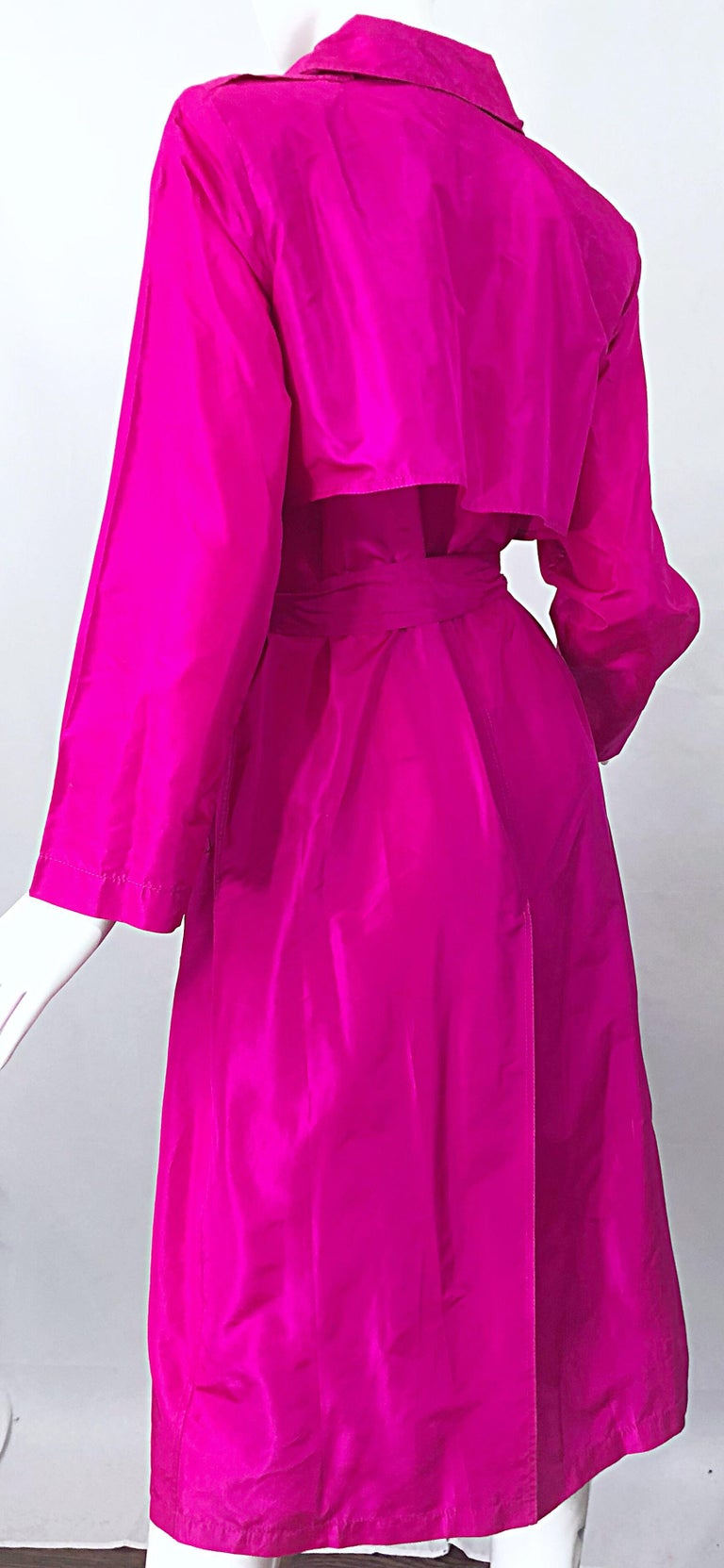 Vintage Vicky Tiel Couture 80s Hot Pink Fuchsia Silk 1980s Trecnch Jacket Dress For Sale 5