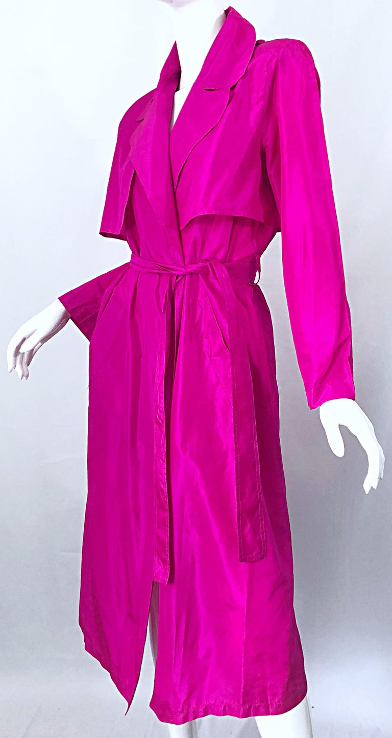 Vintage Vicky Tiel Couture 80s Hot Pink Fuchsia Silk 1980s Trecnch Jacket Dress For Sale 6