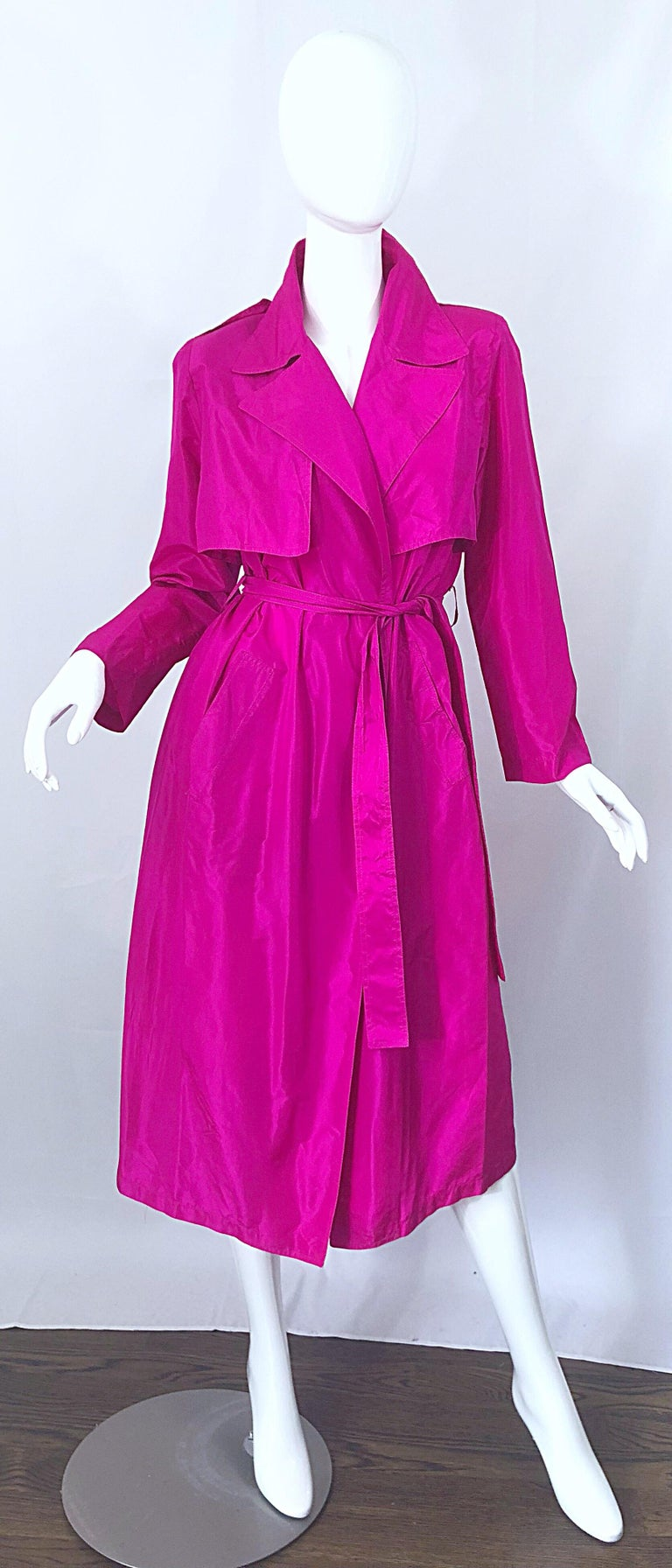 Vintage Vicky Tiel Couture 80s Hot Pink Fuchsia Silk 1980s Trecnch Jacket Dress For Sale 7
