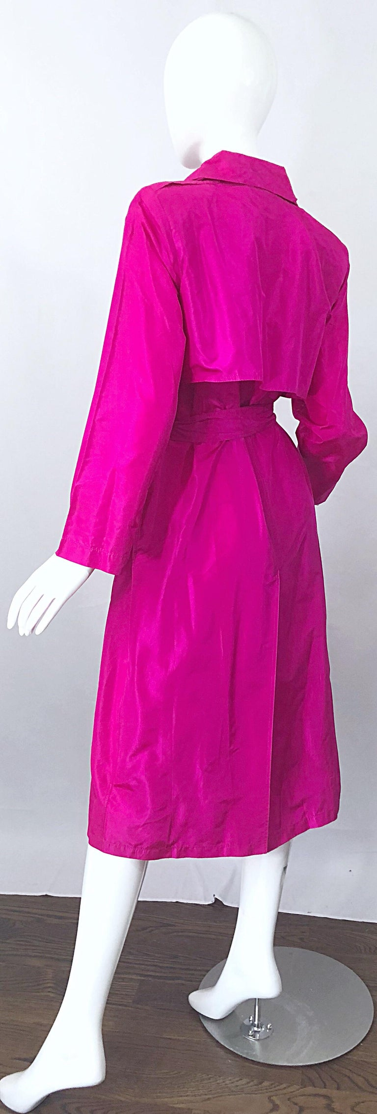 Vintage Vicky Tiel Couture 80s Hot Pink Fuchsia Silk 1980s Trecnch Jacket Dress For Sale 8