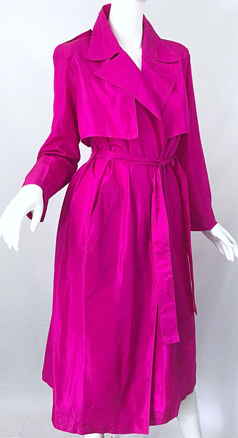 Vintage Vicky Tiel Couture 80s Hot Pink Fuchsia Silk 1980s Trecnch Jacket Dress For Sale 9
