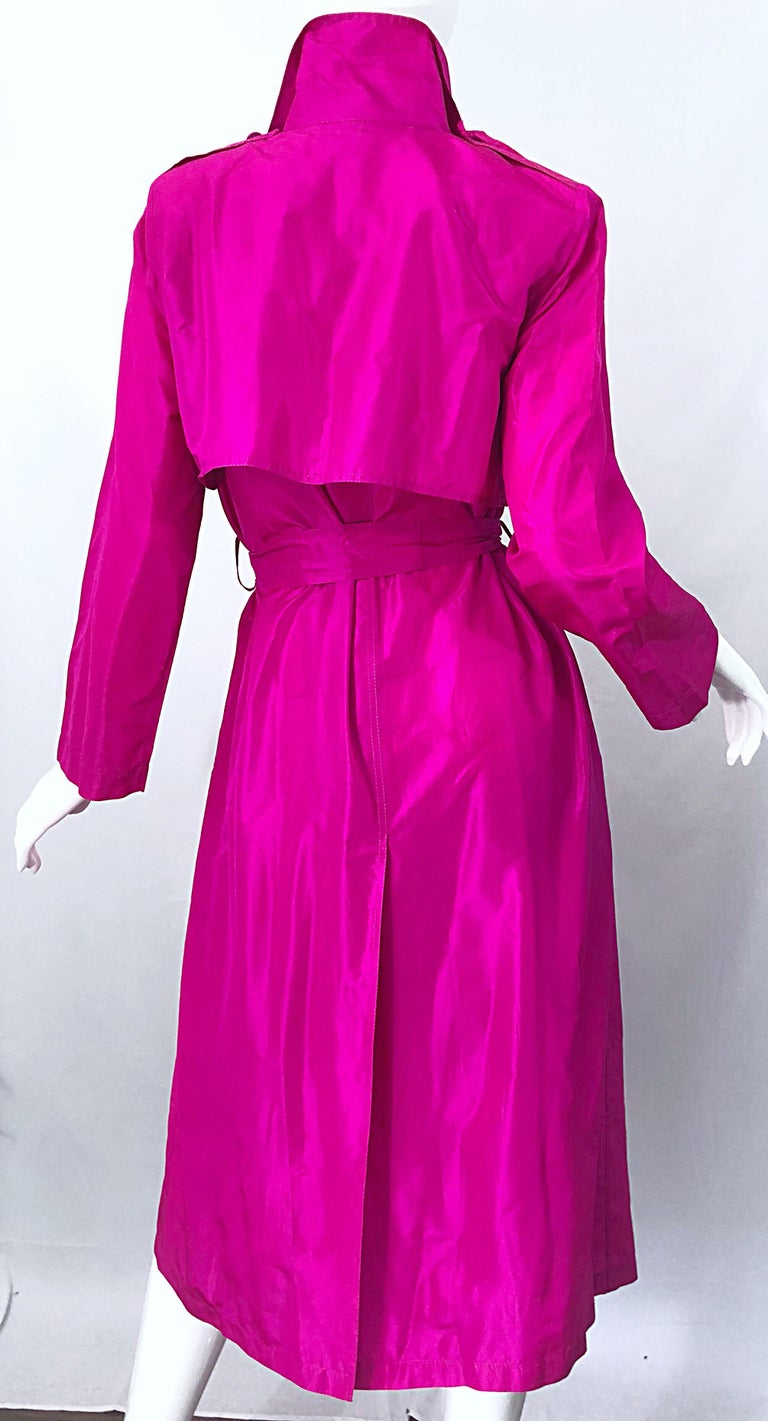 Vintage Vicky Tiel Couture 80s Hot Pink Fuchsia Silk 1980s Trecnch Jacket Dress For Sale 10