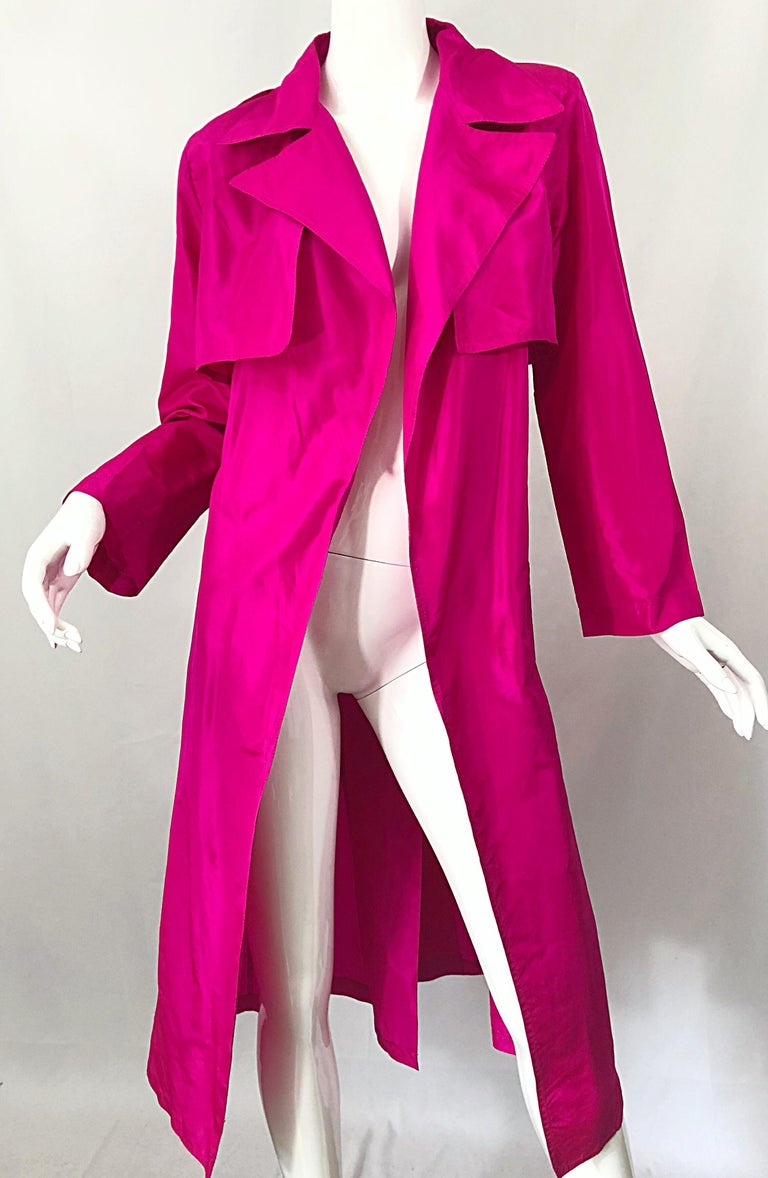 Vintage Vicky Tiel Couture 80s Hot Pink Fuchsia Silk 1980s Trecnch Jacket Dress For Sale 11