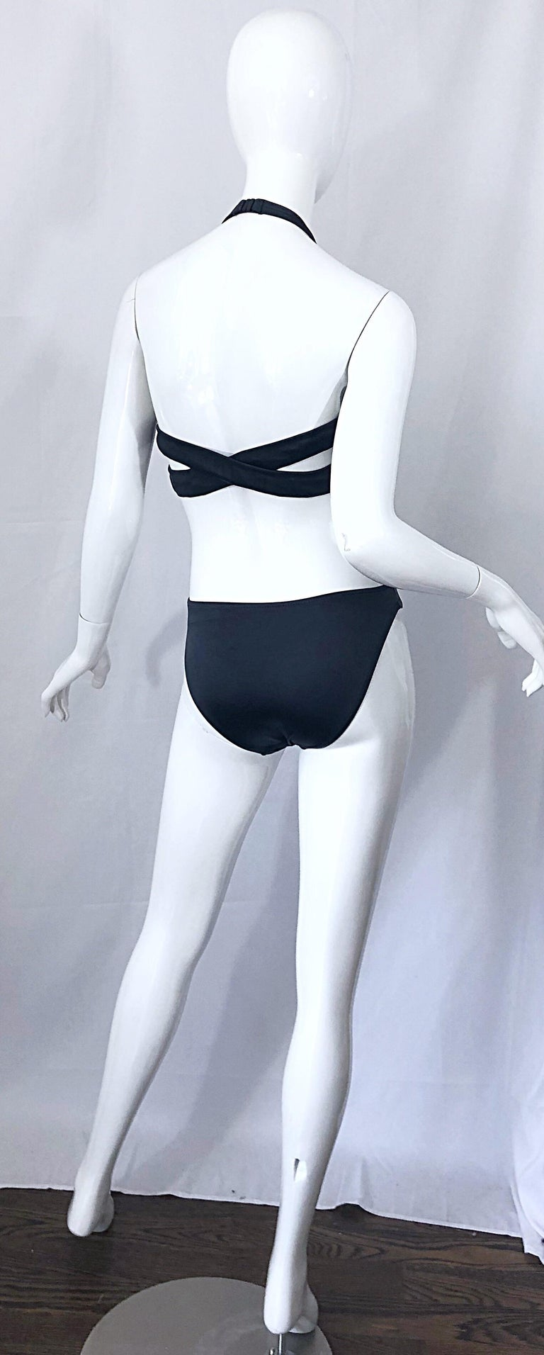 Purple New 1990s Calvin Klein Collection Slate Gray Sexy One Piece Swimsuit / Bodysuit For Sale