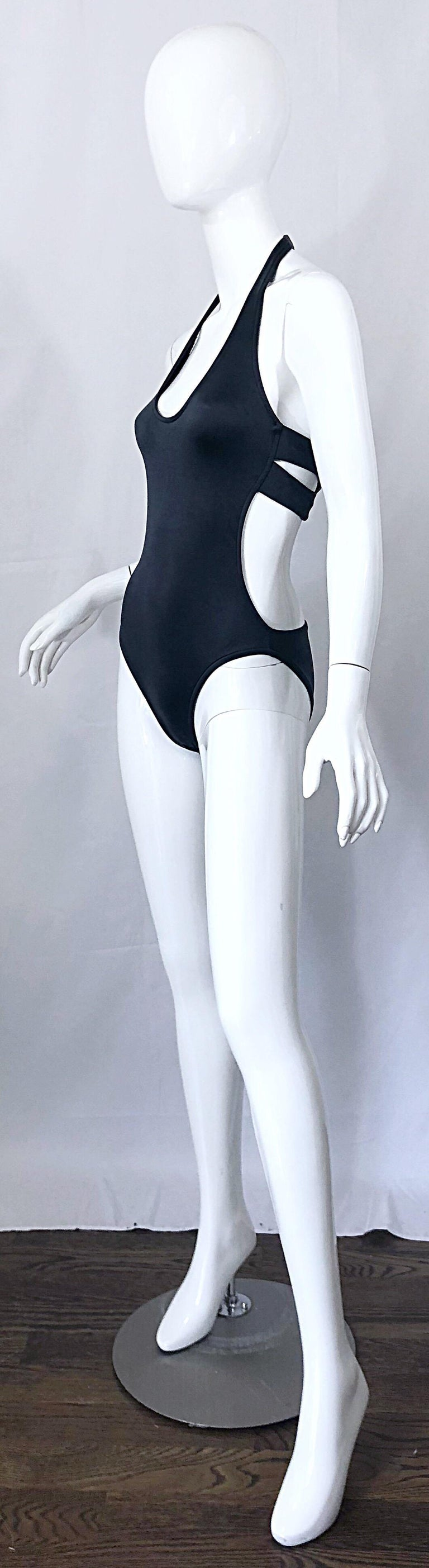 New 1990s Calvin Klein Collection Slate Gray Sexy One Piece Swimsuit / Bodysuit For Sale 1