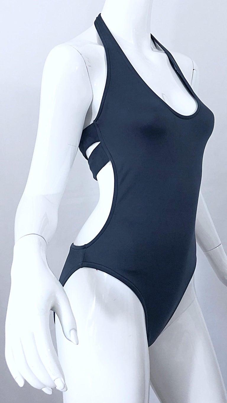 New 1990s Calvin Klein Collection Slate Gray Sexy One Piece Swimsuit / Bodysuit For Sale 6