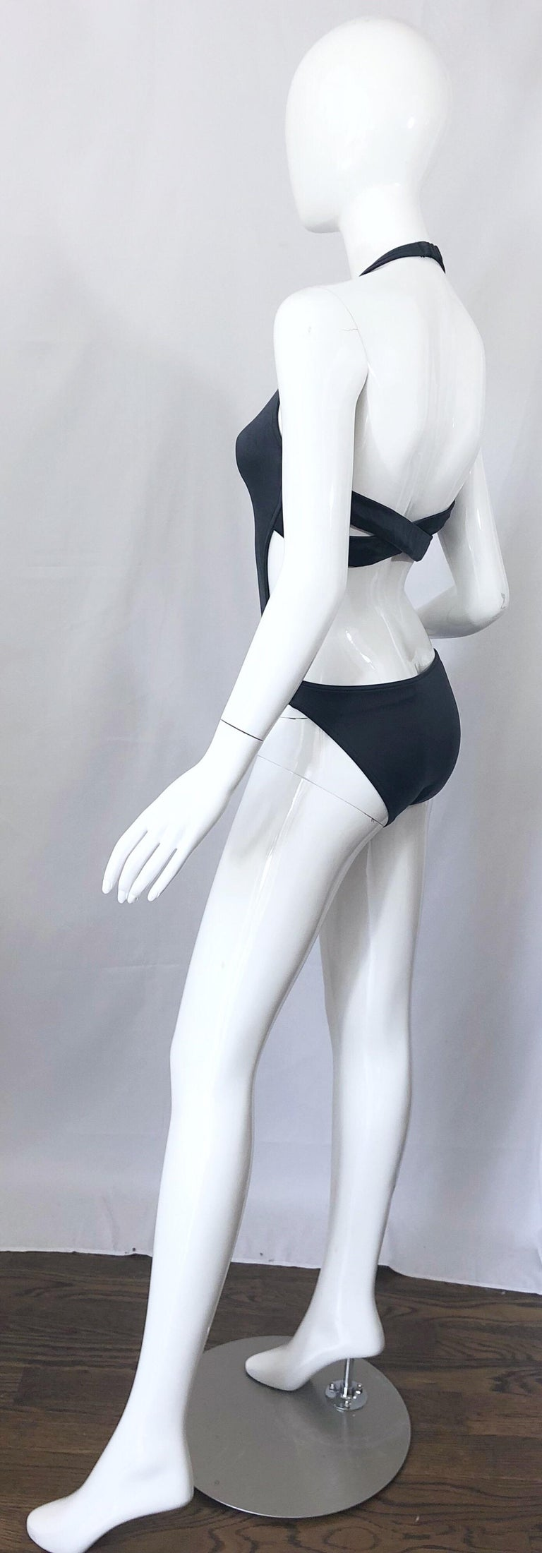 New 1990s Calvin Klein Collection Slate Gray Sexy One Piece Swimsuit / Bodysuit For Sale 7