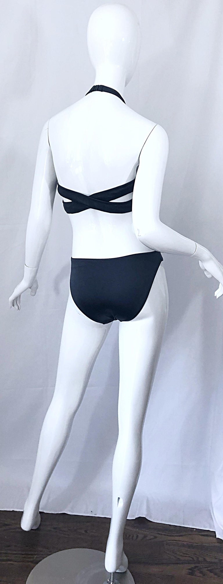 New 1990s Calvin Klein Collection Slate Gray Sexy One Piece Swimsuit / Bodysuit For Sale 8