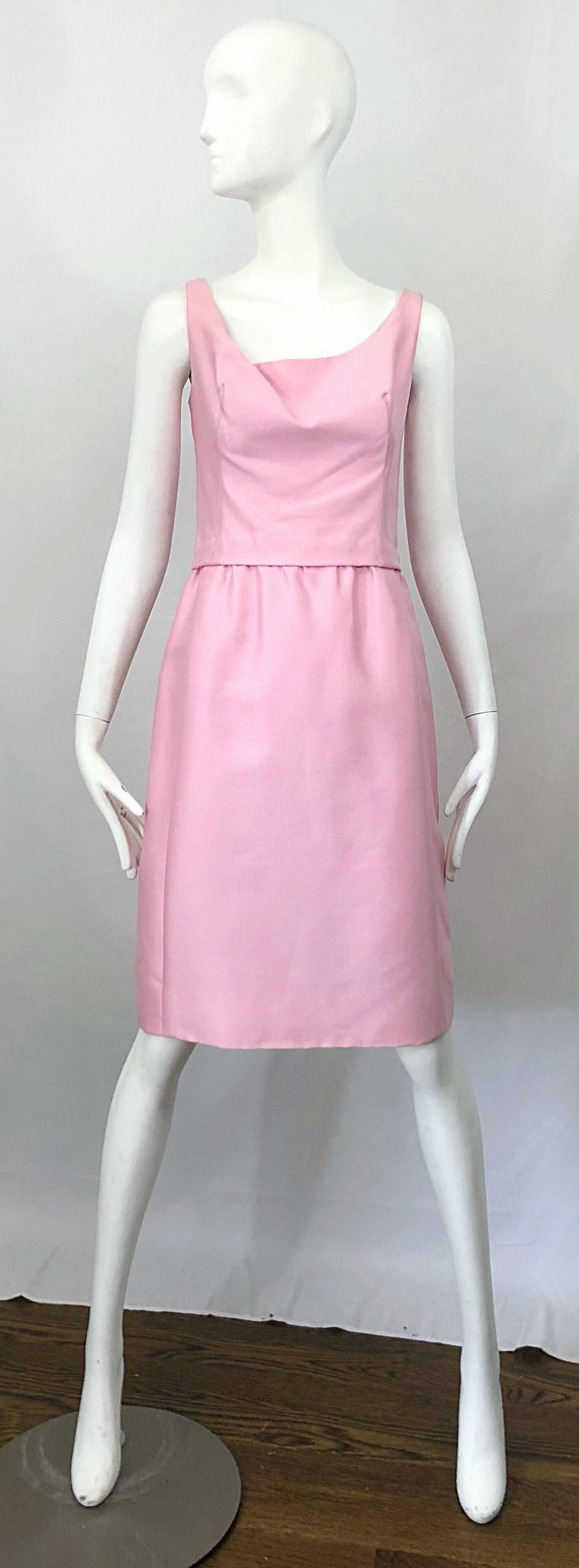 Chic 1960s PAT SANDLER light pink silk shift dress and jacket ensemble!!! Dress is sleeveless with a draped tailored bodice and forgiving fuller skirt. Full metal zipper up the back with  hook-and-eye closure. Pillbox jacket has a bow at center