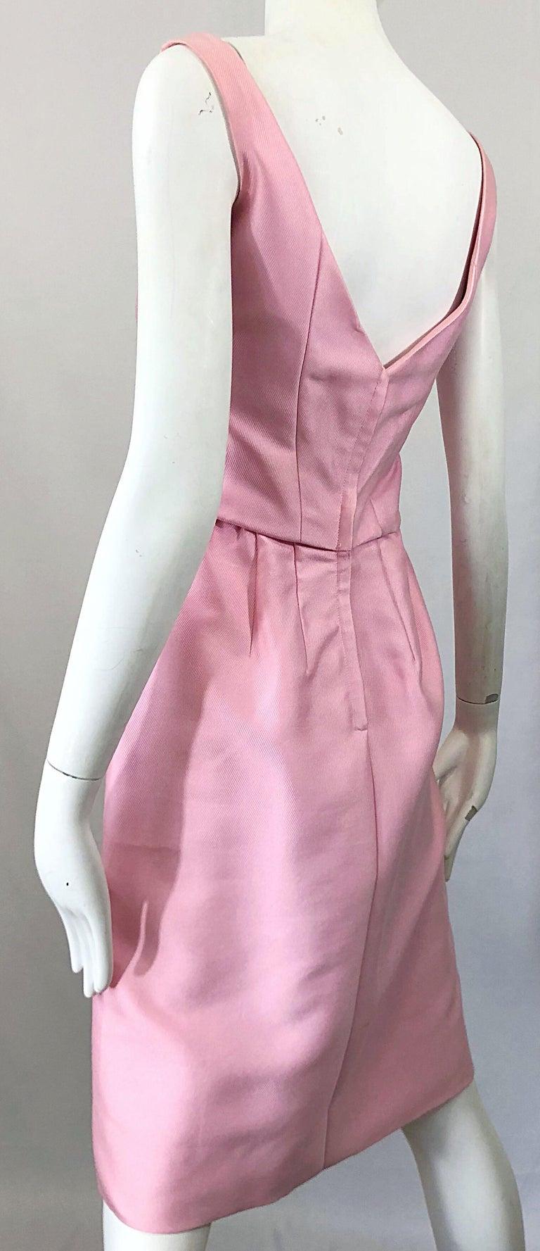 4da617dc217 Schicke der 1960er Jahre Pat Sandler hell rosa Vintage 60er Jahre Seide  Etuikleid und Jacke Anzug
