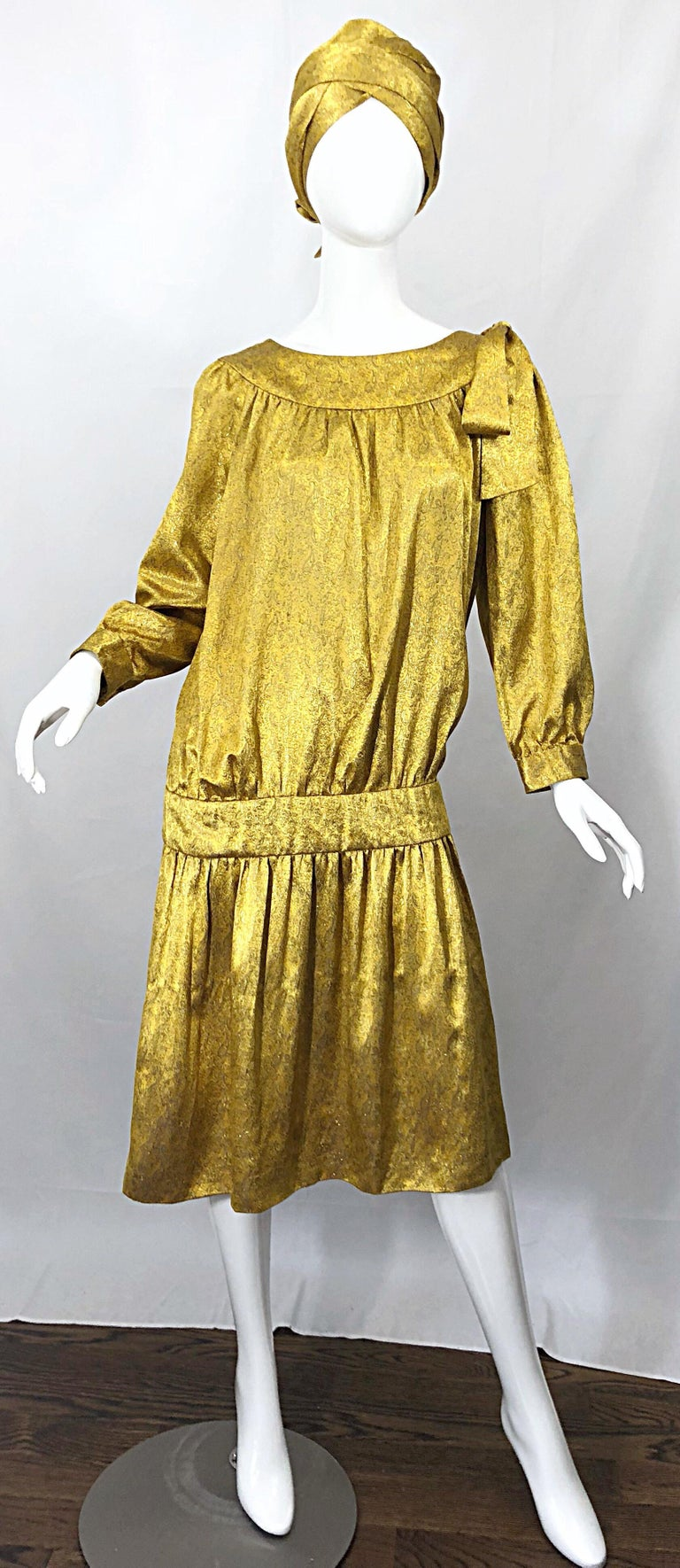 Beige Vintage Brioni Yellow + Gold Silk 1920s Style Drop Waist Dress + Turban Sash For Sale