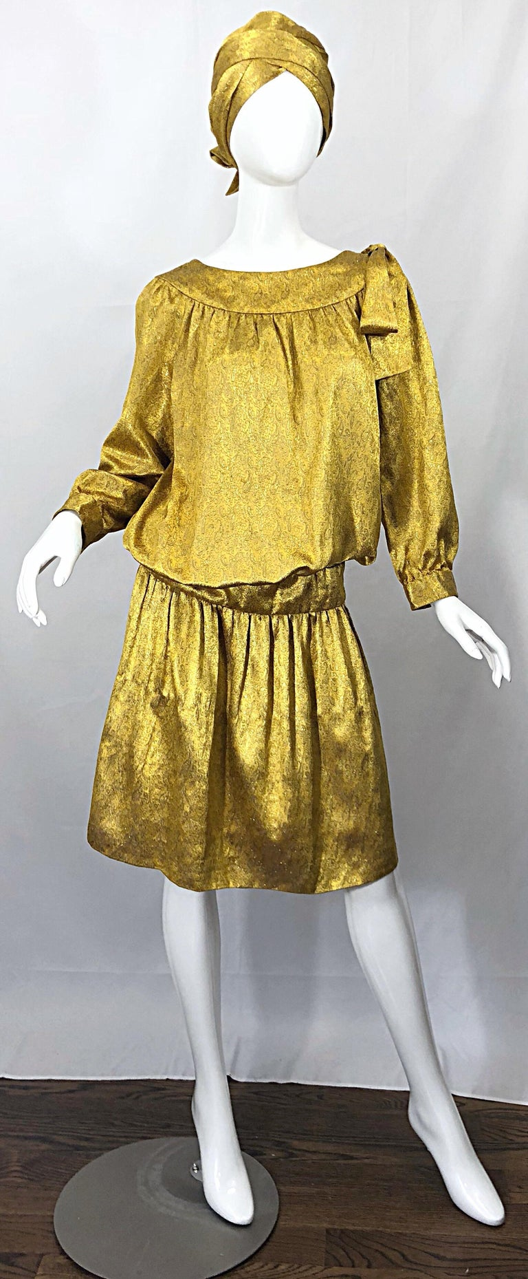 Vintage Brioni Yellow + Gold Silk 1920s Style Drop Waist Dress + Turban Sash In Excellent Condition For Sale In Chicago, IL